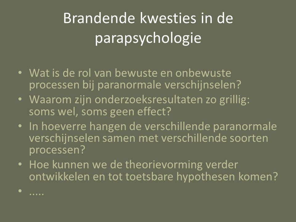 Brandende kwesties in de parapsychologie Wat is de rol van bewuste en onbewuste processen bij paranormale verschijnselen? Waarom zijn onderzoeksresult