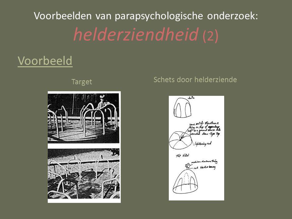 Voorbeeld Voorbeelden van parapsychologische onderzoek: helderziendheid (2 ) Schets door helderziende Target