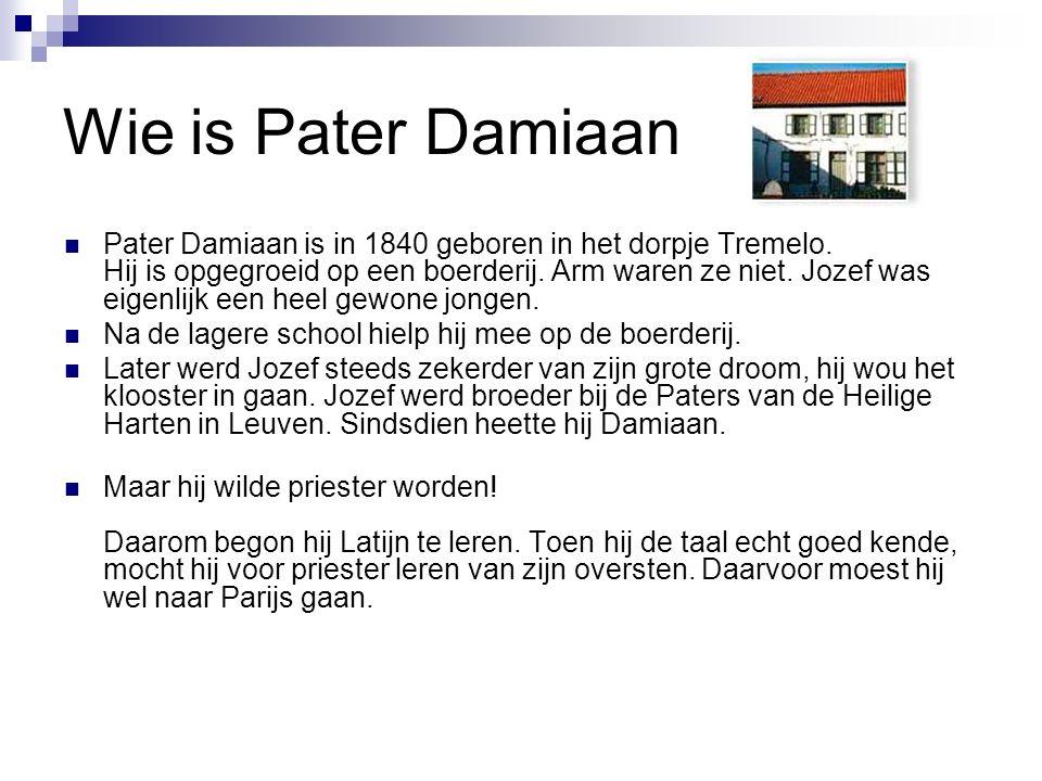 Wie is Pater Damiaan Pater Damiaan is in 1840 geboren in het dorpje Tremelo.
