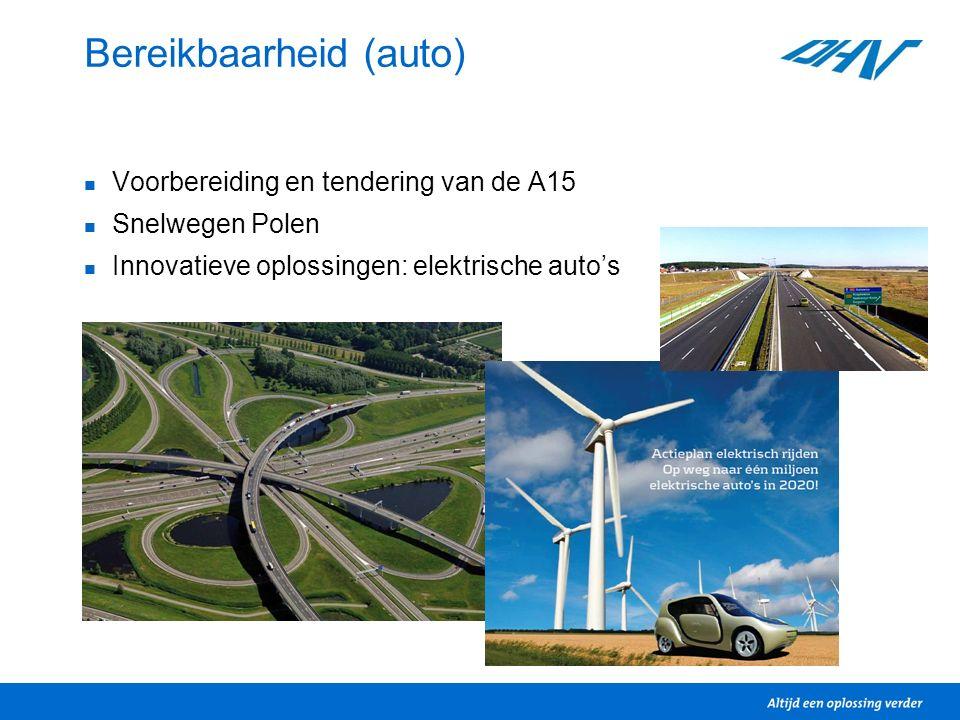 Bereikbaarheid (auto) Voorbereiding en tendering van de A15 Snelwegen Polen Innovatieve oplossingen: elektrische auto's