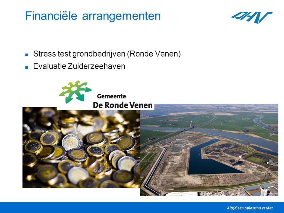 Financiële arrangementen Stress test grondbedrijven (Ronde Venen) Evaluatie Zuiderzeehaven