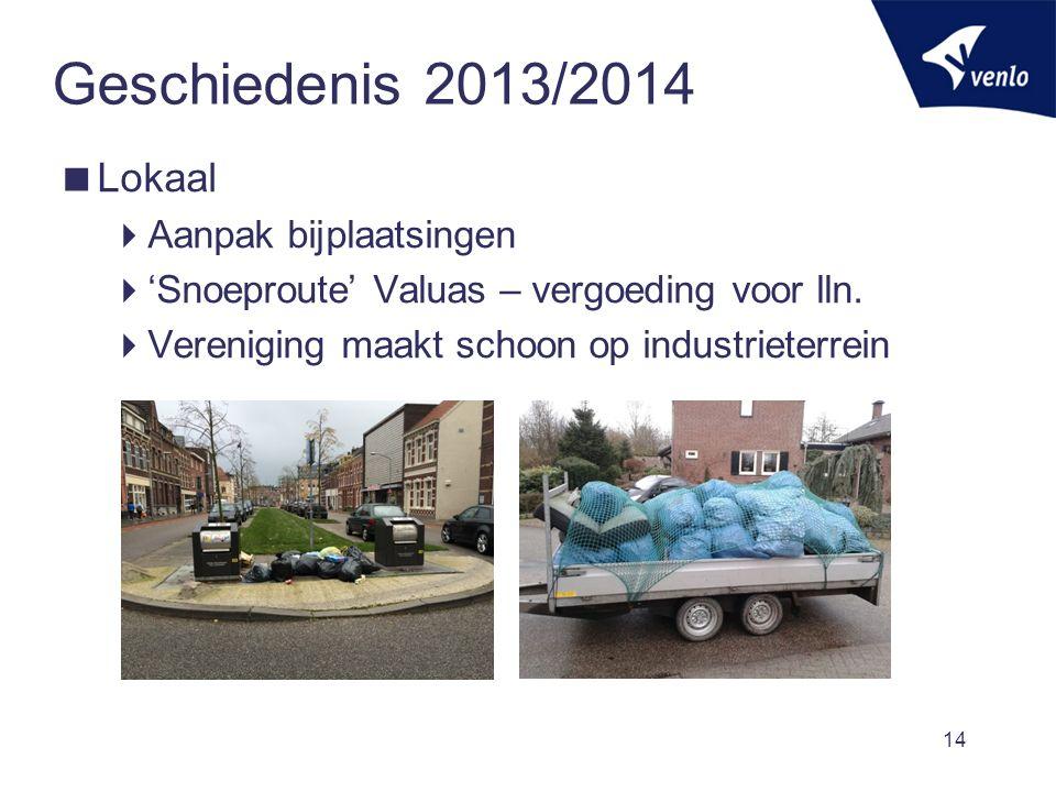 Geschiedenis 2013/2014  Lokaal  Aanpak bijplaatsingen  'Snoeproute' Valuas – vergoeding voor lln.