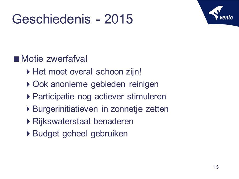 Geschiedenis - 2015  Motie zwerfafval  Het moet overal schoon zijn.