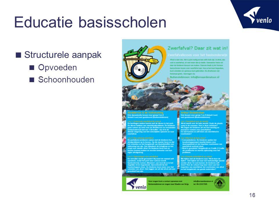 Educatie basisscholen  Structurele aanpak  Opvoeden  Schoonhouden 16
