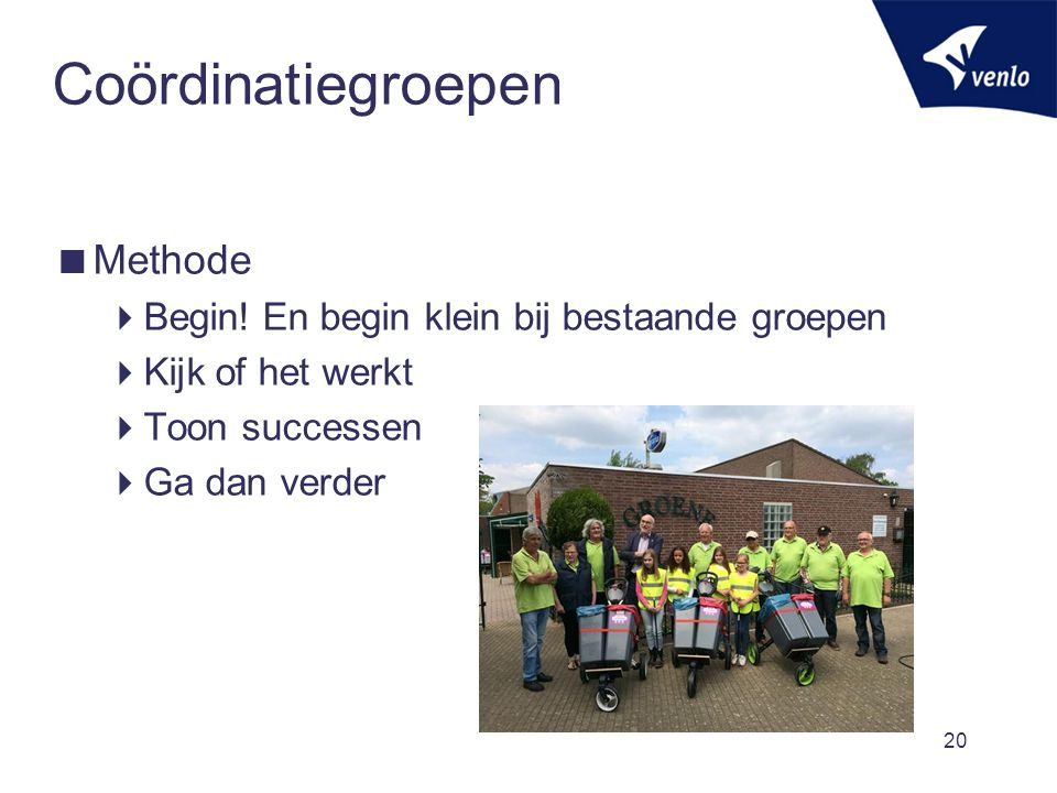 Coördinatiegroepen  Methode  Begin.