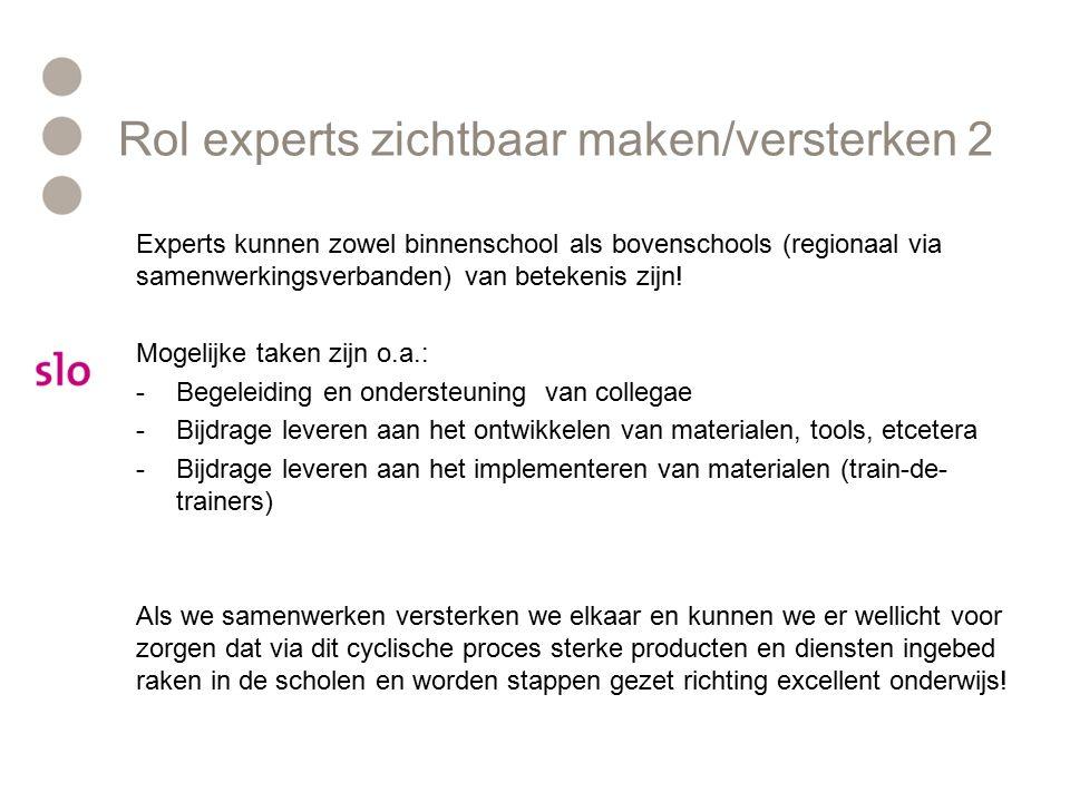 Rol experts zichtbaar maken/versterken 2 Experts kunnen zowel binnenschool als bovenschools (regionaal via samenwerkingsverbanden) van betekenis zijn.
