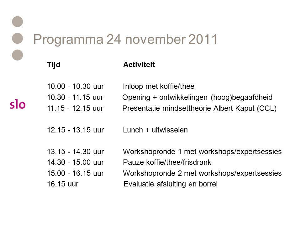 Tijd Activiteit 10.00 - 10.30 uur Inloop met koffie/thee 10.30 - 11.15 uur Opening + ontwikkelingen (hoog)begaafdheid 11.15 - 12.15 uur Presentatie mindsettheorie Albert Kaput (CCL) 12.15 - 13.15 uur Lunch + uitwisselen 13.15 - 14.30 uur Workshopronde 1 met workshops/expertsessies 14.30 - 15.00 uur Pauze koffie/thee/frisdrank 15.00 - 16.15 uur Workshopronde 2 met workshops/expertsessies 16.15 uur Evaluatie afsluiting en borrel Programma 24 november 2011