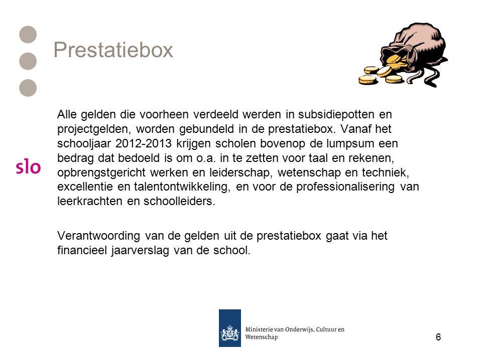 Prestatiebox Alle gelden die voorheen verdeeld werden in subsidiepotten en projectgelden, worden gebundeld in de prestatiebox.