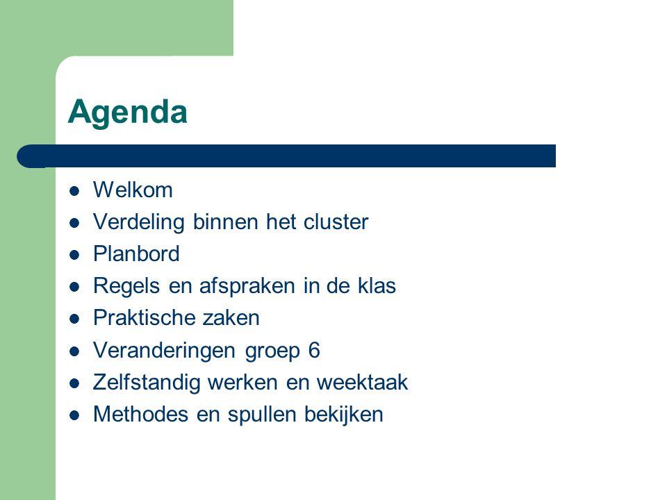 Agenda Welkom Verdeling binnen het cluster Planbord Regels en afspraken in de klas Praktische zaken Veranderingen groep 6 Zelfstandig werken en weektaak Methodes en spullen bekijken