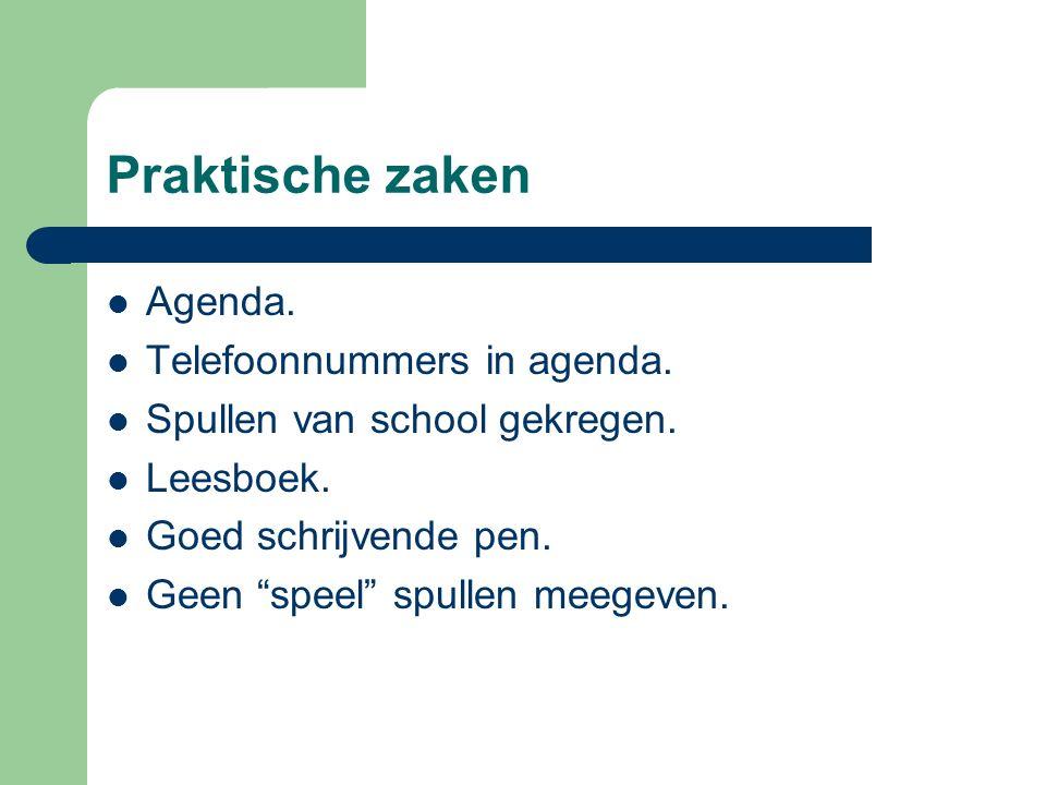 Praktische zaken Agenda.Telefoonnummers in agenda.