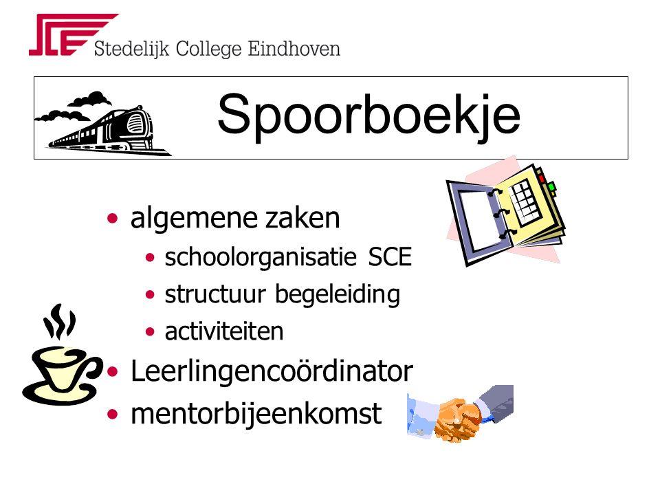 Spoorboekje algemene zaken schoolorganisatie SCE structuur begeleiding activiteiten Leerlingencoördinator mentorbijeenkomst