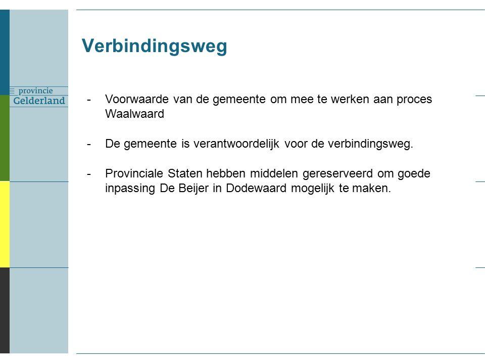 Verbindingsweg -Voorwaarde van de gemeente om mee te werken aan proces Waalwaard -De gemeente is verantwoordelijk voor de verbindingsweg.