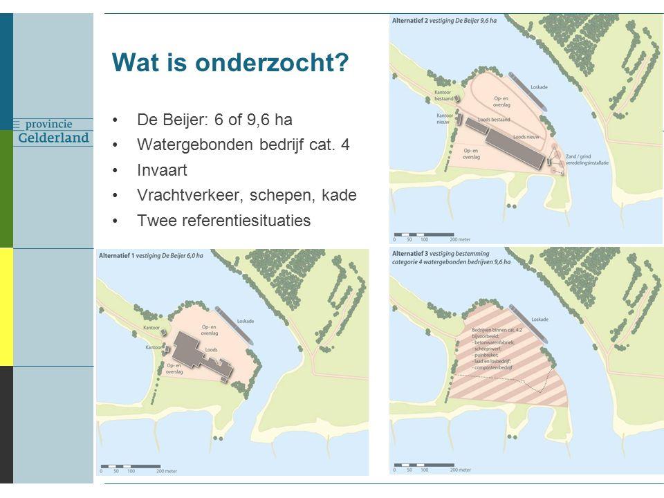 Wat is onderzocht. De Beijer: 6 of 9,6 ha Watergebonden bedrijf cat.