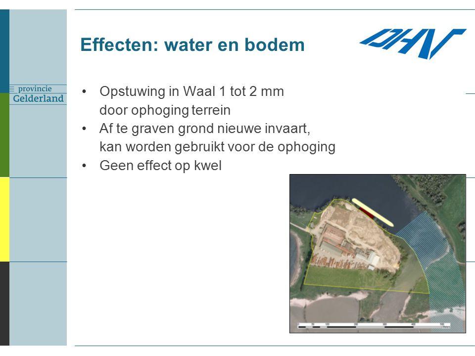 Effecten: water en bodem Opstuwing in Waal 1 tot 2 mm door ophoging terrein Af te graven grond nieuwe invaart, kan worden gebruikt voor de ophoging Geen effect op kwel