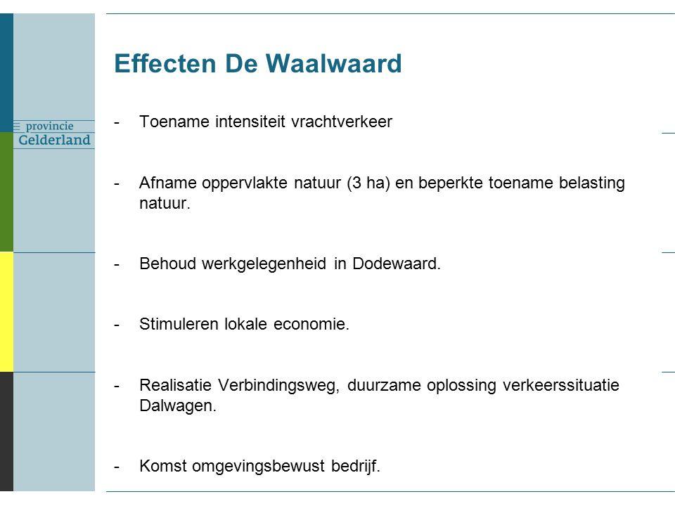 Effecten De Waalwaard -Toename intensiteit vrachtverkeer -Afname oppervlakte natuur (3 ha) en beperkte toename belasting natuur.