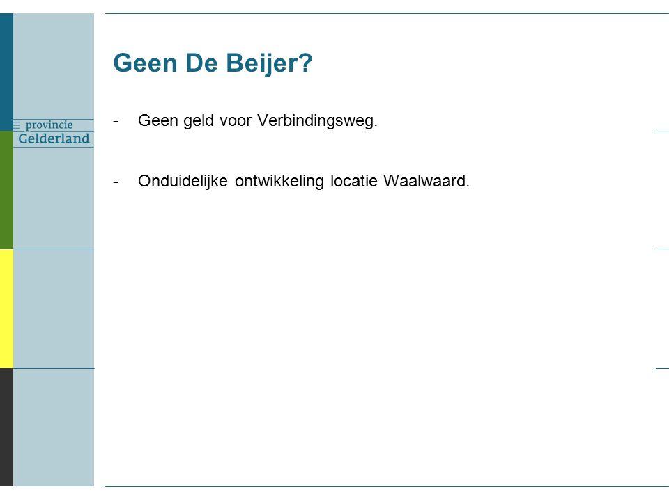 Geen De Beijer -Geen geld voor Verbindingsweg. -Onduidelijke ontwikkeling locatie Waalwaard.
