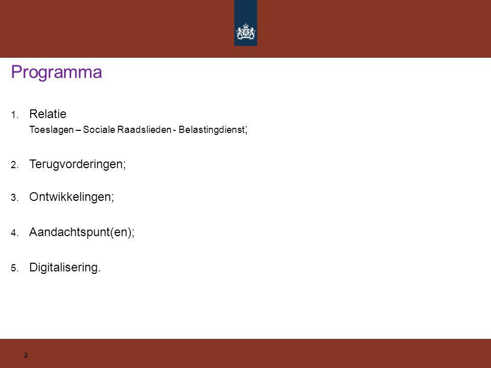 1. Relatie Toeslagen – Sociale Raadslieden - Belastingdienst ; 2. Terugvorderingen; 3. Ontwikkelingen; 4. Aandachtspunt(en); 5. Digitalisering. Progra