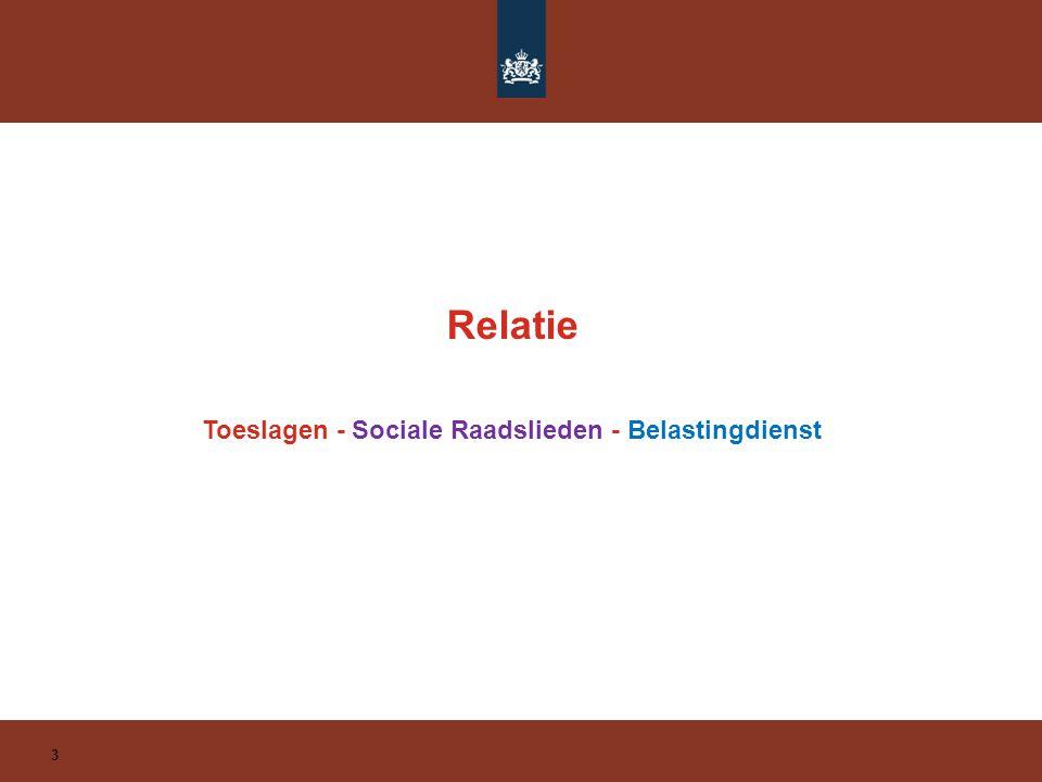 Relatie 4 Op weg 2016 Samenwerking tussen belastingen en toeslagen wordt geïntensiveerd.