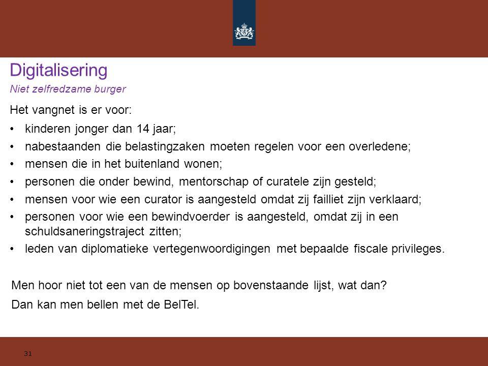 Digitalisering Niet zelfredzame burger Het vangnet is er voor: kinderen jonger dan 14 jaar; nabestaanden die belastingzaken moeten regelen voor een ov