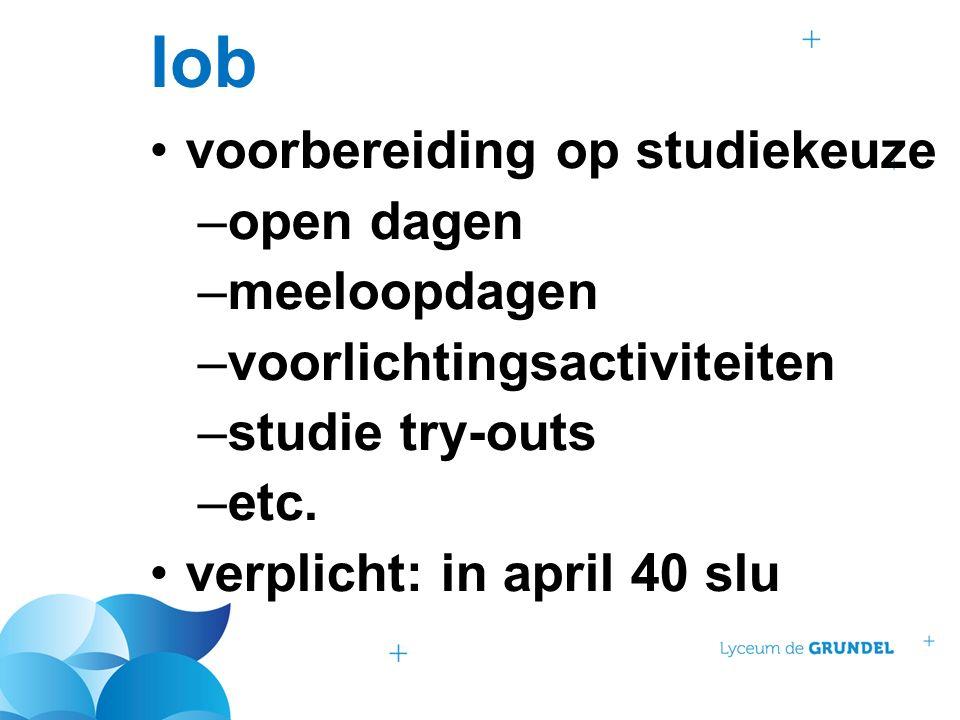 lob voorbereiding op studiekeuze –open dagen –meeloopdagen –voorlichtingsactiviteiten –studie try-outs –etc.