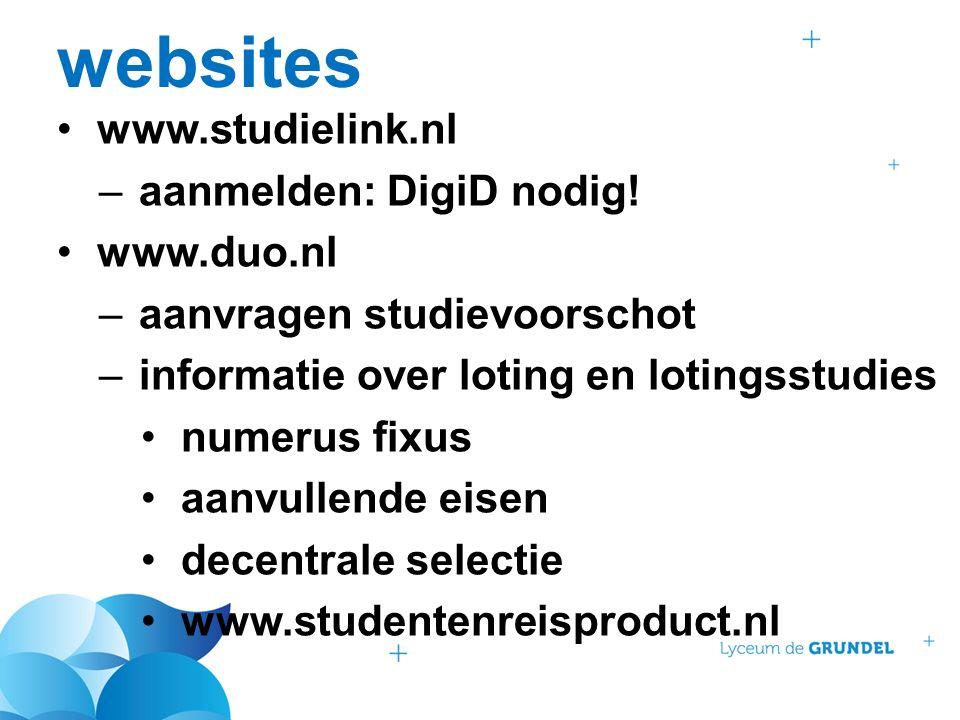 websites www.studielink.nl –aanmelden: DigiD nodig.