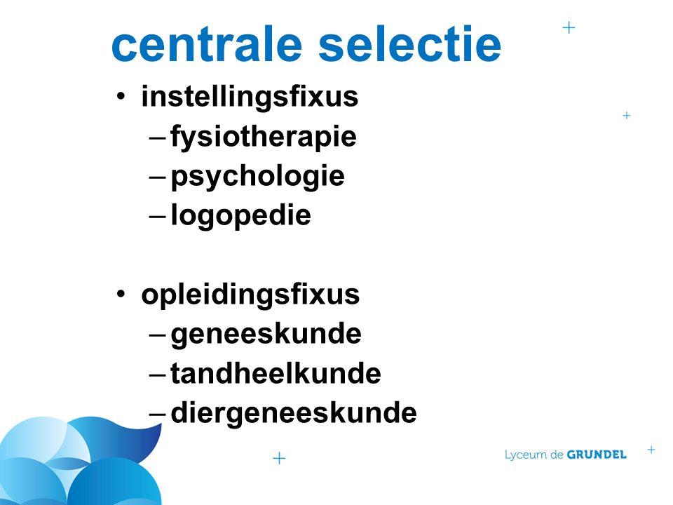 centrale selectie instellingsfixus –fysiotherapie –psychologie –logopedie opleidingsfixus –geneeskunde –tandheelkunde –diergeneeskunde