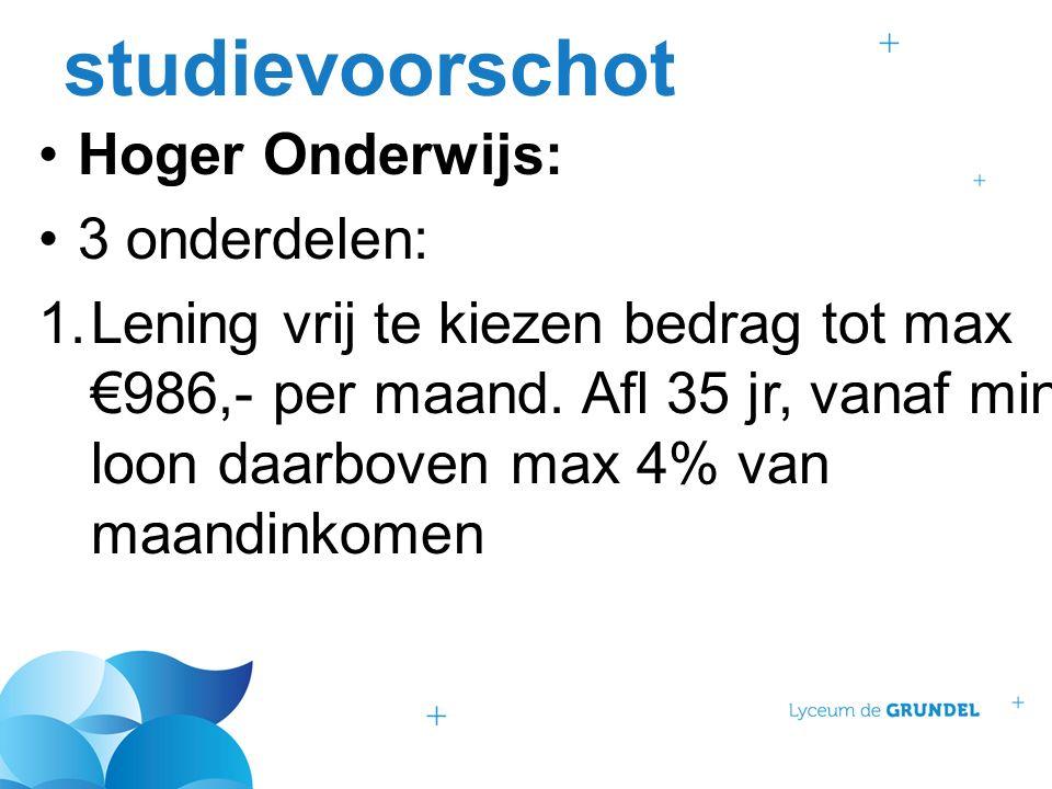 studievoorschot Hoger Onderwijs: 3 onderdelen: 1.Lening vrij te kiezen bedrag tot max €986,- per maand.