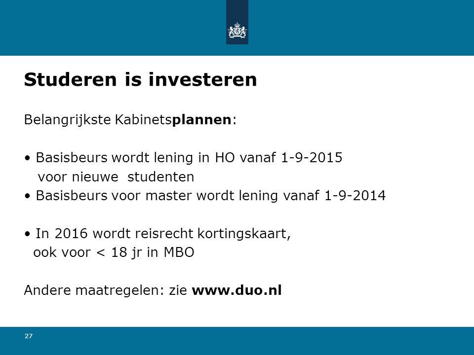 27 Studeren is investeren Belangrijkste Kabinetsplannen: Basisbeurs wordt lening in HO vanaf 1-9-2015 voor nieuwe studenten Basisbeurs voor master wor