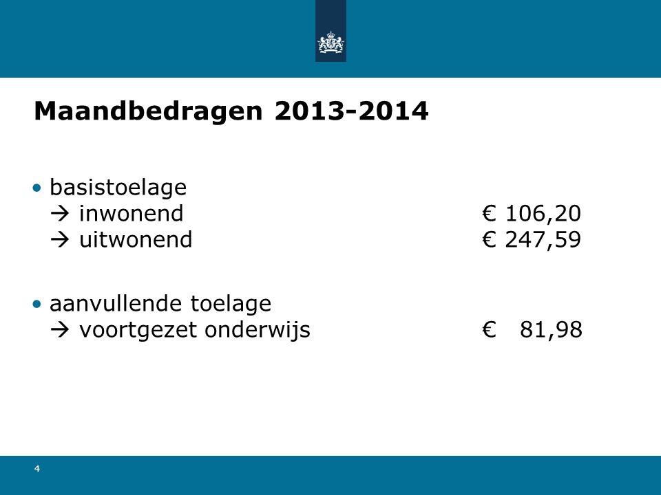 4 Maandbedragen 2013-2014 basistoelage  inwonend€ 106,20  uitwonend€ 247,59 aanvullende toelage  voortgezet onderwijs€ 81,98