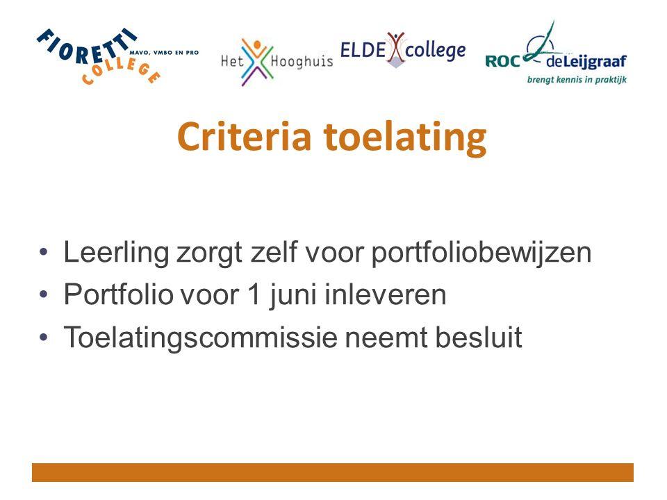 Criteria toelating Leerling zorgt zelf voor portfoliobewijzen Portfolio voor 1 juni inleveren Toelatingscommissie neemt besluit