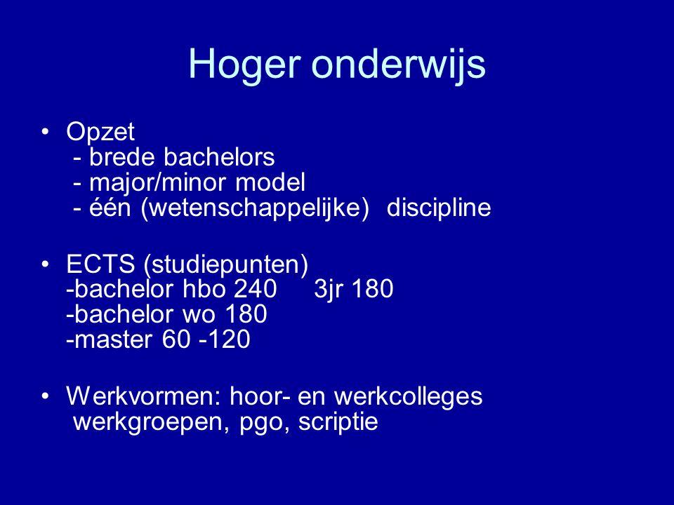 Hoger onderwijs Opzet - brede bachelors - major/minor model - één (wetenschappelijke) discipline ECTS (studiepunten) -bachelor hbo 240 3jr 180 -bachel