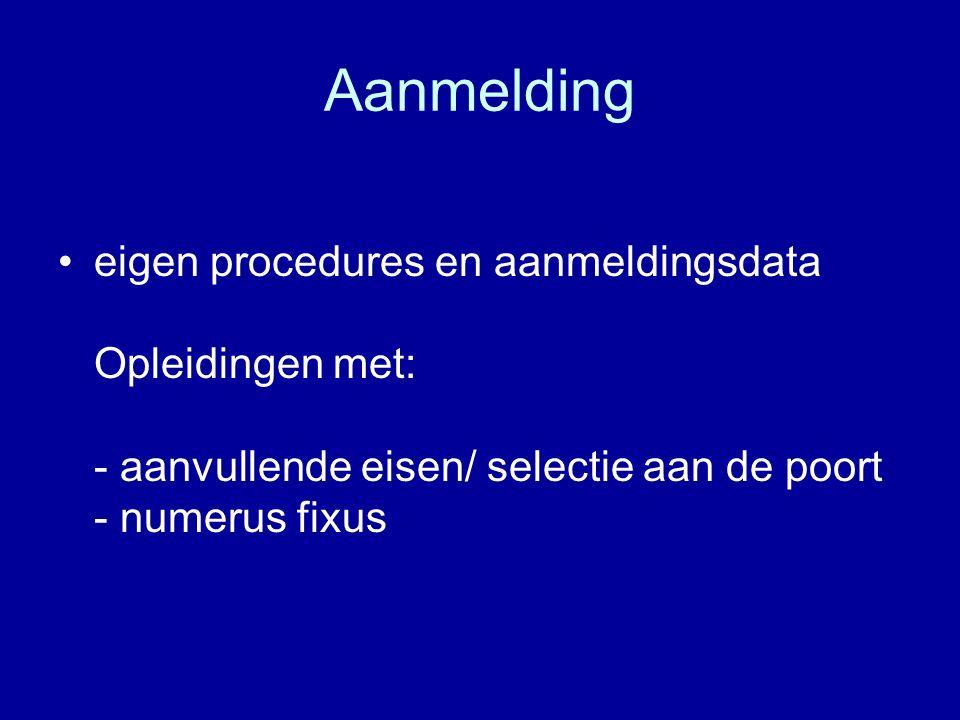 Aanmelding eigen procedures en aanmeldingsdata Opleidingen met: - aanvullende eisen/ selectie aan de poort - numerus fixus