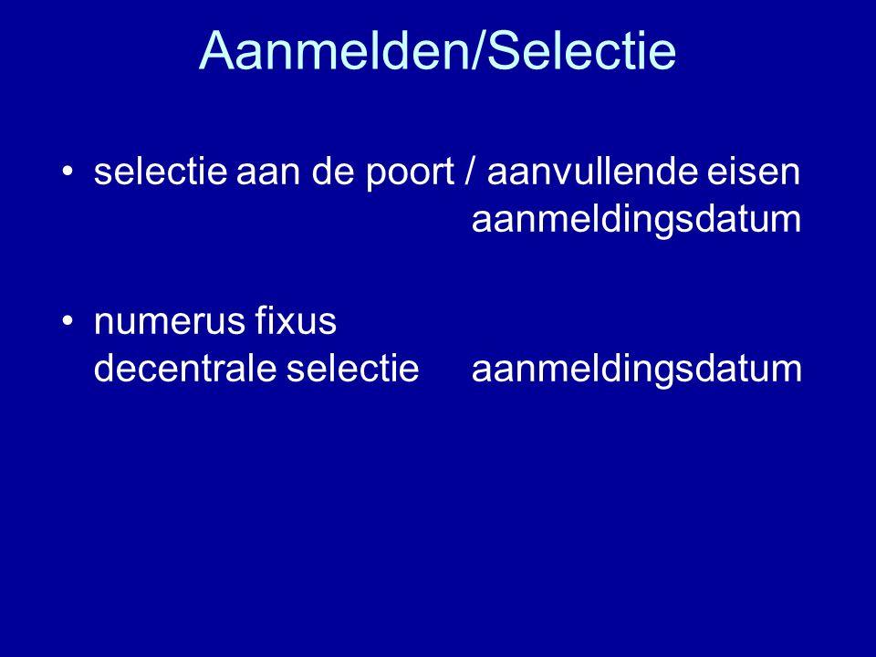 Aanmelden/Selectie selectie aan de poort / aanvullende eisen aanmeldingsdatum numerus fixus decentrale selectie aanmeldingsdatum