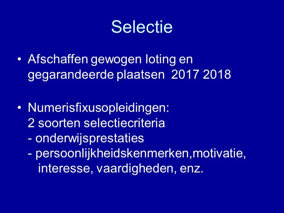 Selectie Afschaffen gewogen loting en gegarandeerde plaatsen 2017 2018 Numerisfixusopleidingen: 2 soorten selectiecriteria - onderwijsprestaties - per
