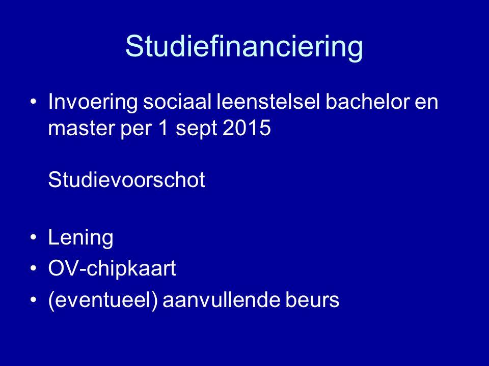 Studiefinanciering Invoering sociaal leenstelsel bachelor en master per 1 sept 2015 Studievoorschot Lening OV-chipkaart (eventueel) aanvullende beurs