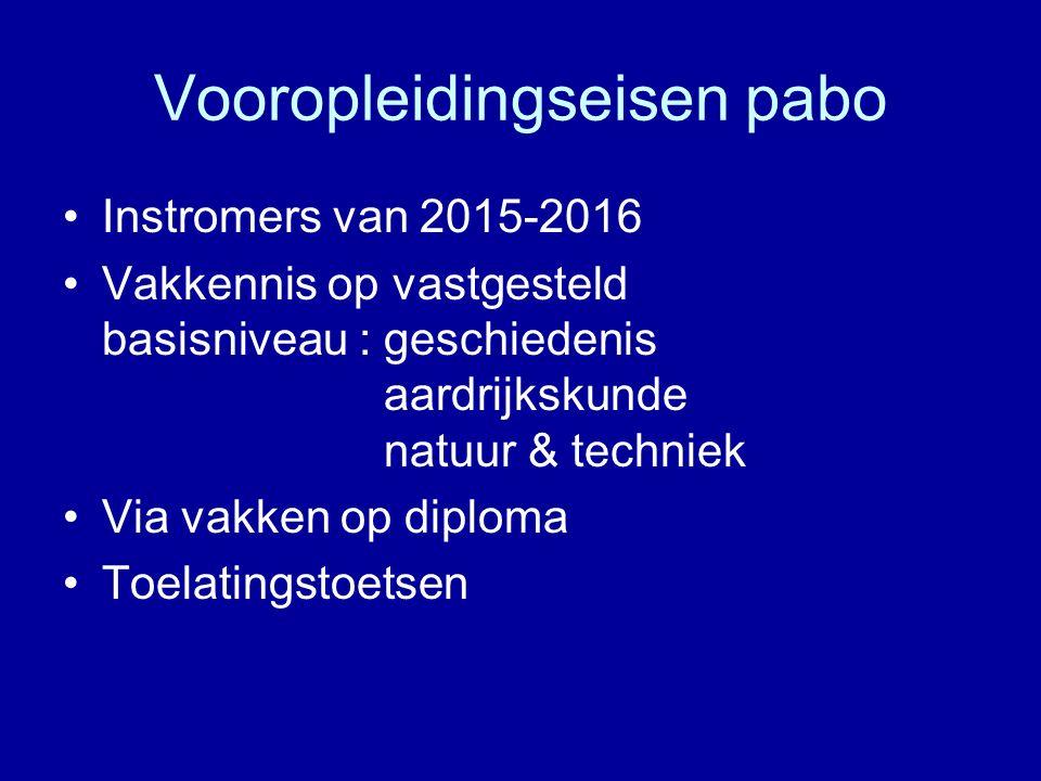 Vooropleidingseisen pabo Instromers van 2015-2016 Vakkennis op vastgesteld basisniveau : geschiedenis aardrijkskunde natuur & techniek Via vakken op d