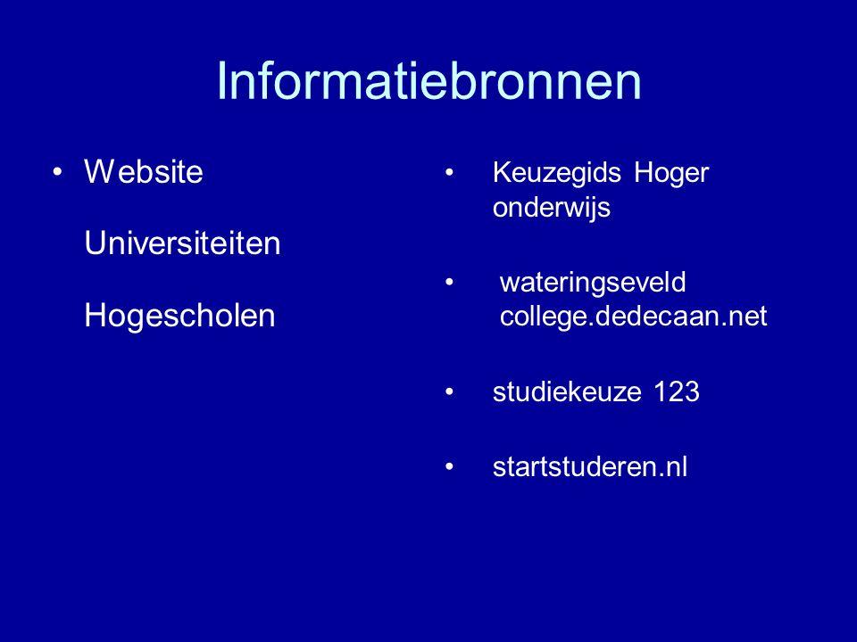 Informatiebronnen Website Universiteiten Hogescholen Keuzegids Hoger onderwijs wateringseveld college.dedecaan.net studiekeuze 123 startstuderen.nl