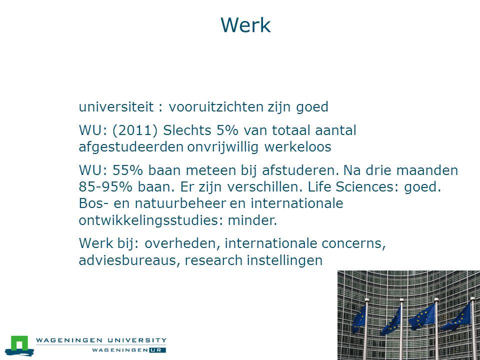 Werk ● universiteit : vooruitzichten zijn goed ● WU: (2011) Slechts 5% van totaal aantal afgestudeerden onvrijwillig werkeloos ● WU: 55% baan meteen bij afstuderen.