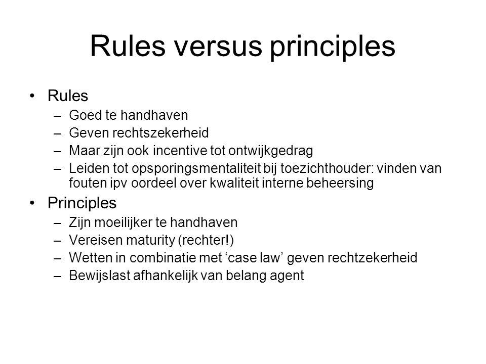 Rules versus principles Rules –Goed te handhaven –Geven rechtszekerheid –Maar zijn ook incentive tot ontwijkgedrag –Leiden tot opsporingsmentaliteit b