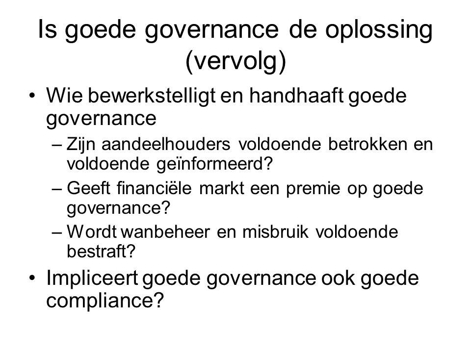 Is goede governance de oplossing (vervolg) Wie bewerkstelligt en handhaaft goede governance –Zijn aandeelhouders voldoende betrokken en voldoende geïnformeerd.