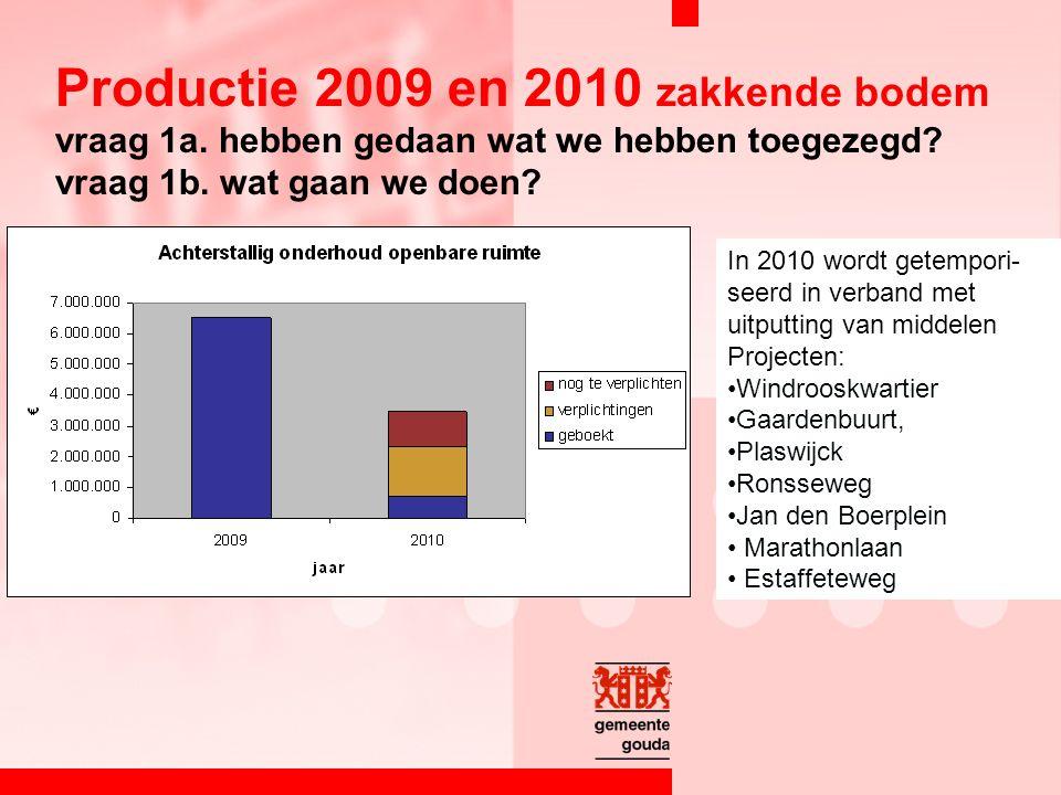 Productie 2009 en 2010 zakkende bodem vraag 1a. hebben gedaan wat we hebben toegezegd.
