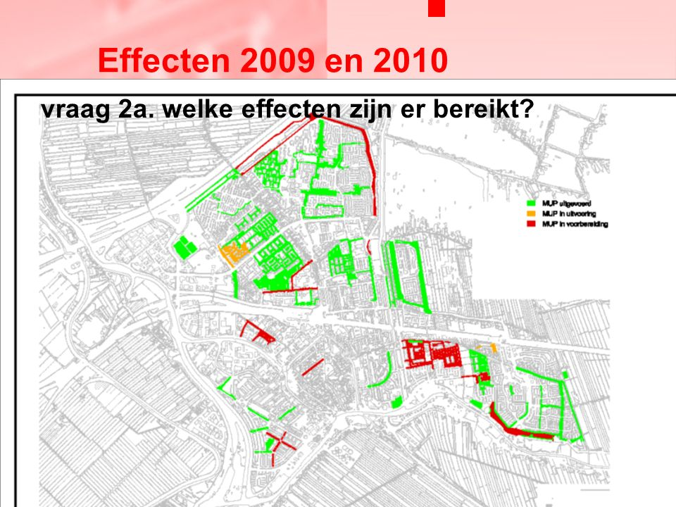 vraag 2a. welke effecten zijn er bereikt Effecten 2009 en 2010