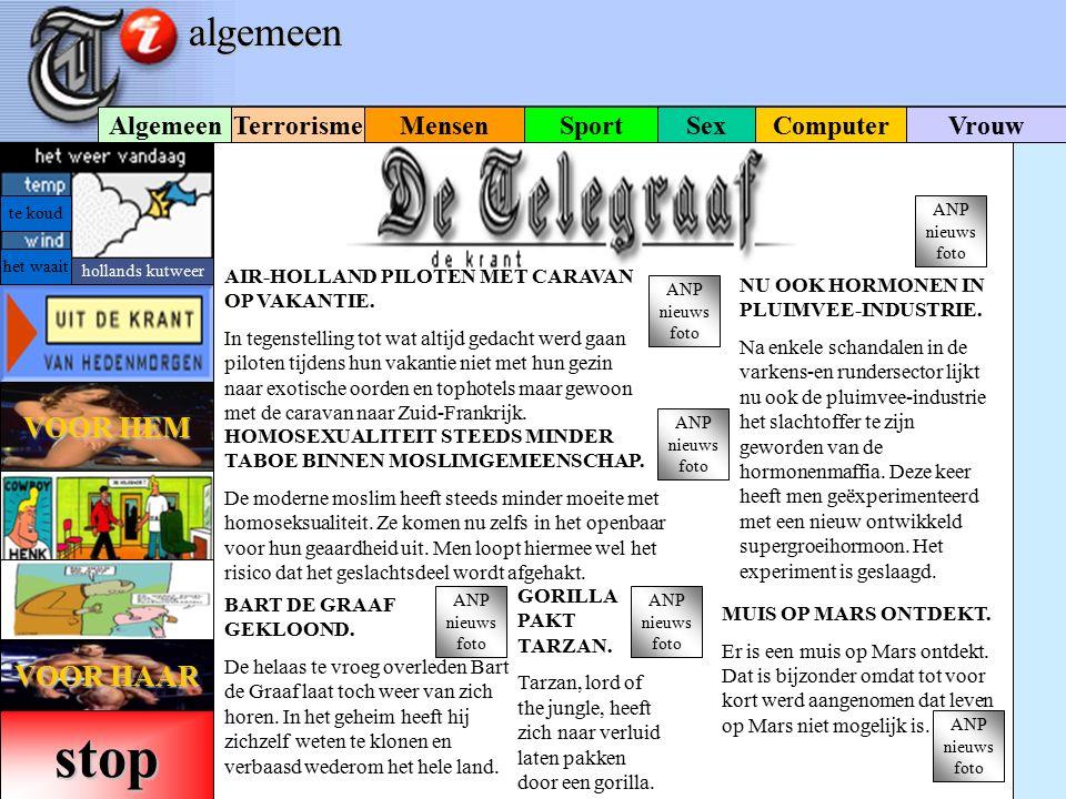 VOOR HEM VOOR HEM Sex m SportComputerMensenVrouw Terrorisme Algemeen speciale powerpoint-editie DE TELEGRAAF IN POWERPOINT. De Telegraaf, de krant van