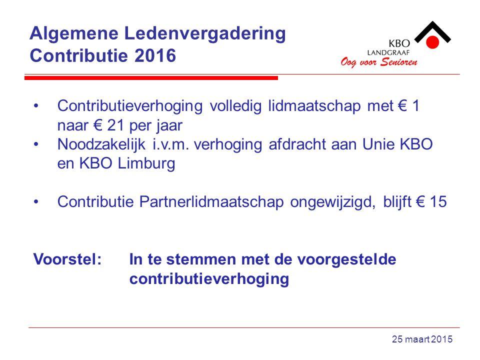 Algemene Ledenvergadering Contributie 2016 25 maart 2015 Contributieverhoging volledig lidmaatschap met € 1 naar € 21 per jaar Noodzakelijk i.v.m.