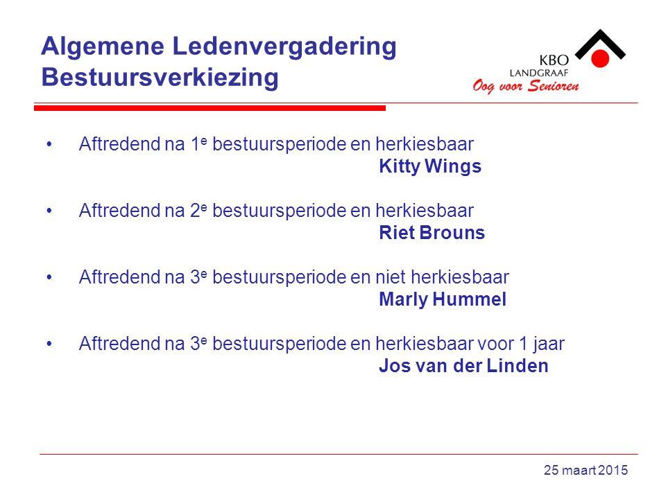 Algemene Ledenvergadering Bestuursverkiezing 25 maart 2015 Aftredend na 1 e bestuursperiode en herkiesbaar Kitty Wings Aftredend na 2 e bestuursperiode en herkiesbaar Riet Brouns Aftredend na 3 e bestuursperiode en niet herkiesbaar Marly Hummel Aftredend na 3 e bestuursperiode en herkiesbaar voor 1 jaar Jos van der Linden