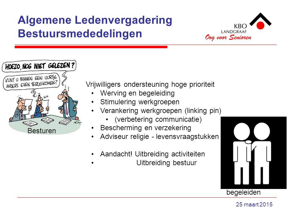 Algemene Ledenvergadering Bestuursmededelingen 25 maart 2015 Vrijwilligers ondersteuning hoge prioriteit Werving en begeleiding Stimulering werkgroepe