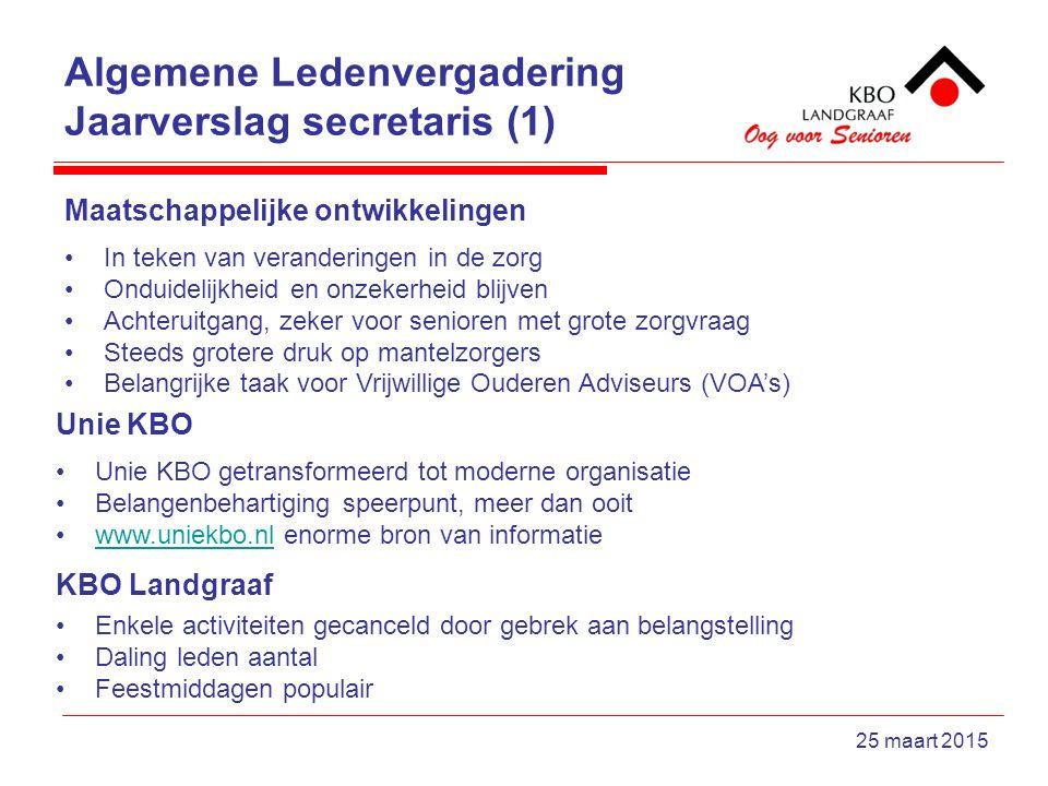 Algemene Ledenvergadering Jaarverslag secretaris (1) 25 maart 2015 Maatschappelijke ontwikkelingen In teken van veranderingen in de zorg Onduidelijkhe