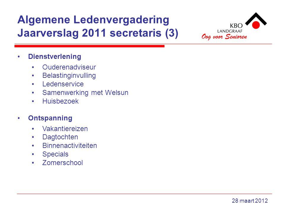 Algemene Ledenvergadering Jaarverslag 2011 secretaris (3) 28 maart 2012 Dienstverlening Ouderenadviseur Belastinginvulling Ledenservice Samenwerking m