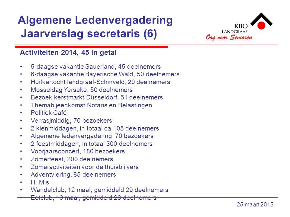 Algemene Ledenvergadering Jaarverslag secretaris (6) 25 maart 2015 Activiteiten 2014, 45 in getal 5-daagse vakantie Sauerland, 45 deelnemers 6-daagse