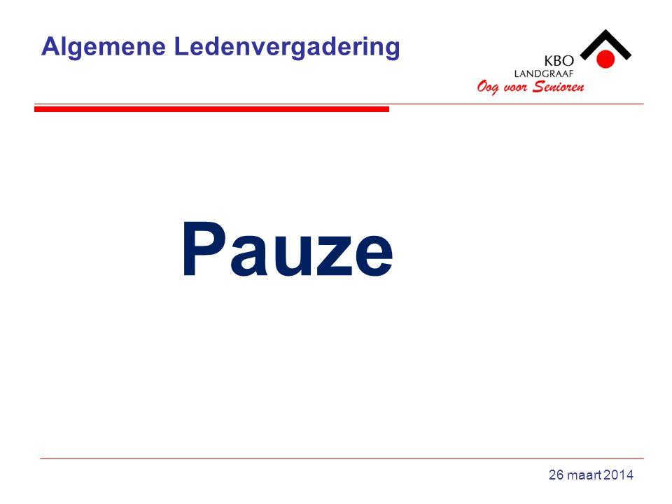 Algemene Ledenvergadering 26 maart 2014 Pauze